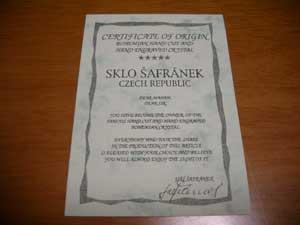 SKLO SAFRANEK の証明書