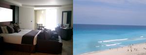 シングルルームの内部と窓から見えるカリブ海 @ ME by Melia, Cancun