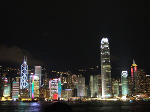ヴィクトリアハーバーの夜景@香港,中国
