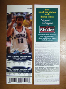 NBA Ticket: Utah Jazz vs Cleveland Cavaliers@ソルトレイクシティ