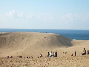 鳥取砂丘にて,馬の背を望む
