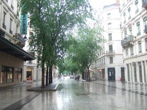 日曜日には仕事をしないので,リヨンのメインストリートも閑散