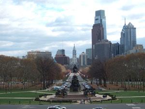 フィラデルフィア美術館から市中心部を臨む