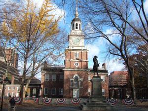 独立宣言が採択された独立記念館@フィラデルフィア