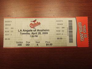 大リーグ観戦チケットBaltimore Orioles vs Los Angeles Angels @バルチモア