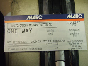 バルチモアからワシントンへのMARCのチケット