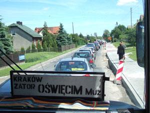 アウシュヴィッツからクラクフへの道で大渋滞@ポーランド