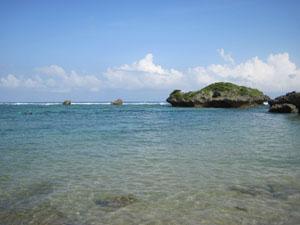 シュノーケリング出発地点となるビーチ@真栄田岬, 沖縄