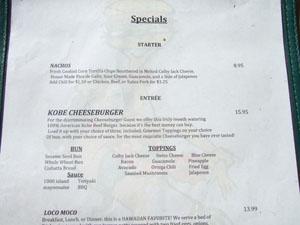 チーズバーガー・ビーチウォーク(Cheese Burger Beachwalk)の英語メニュー@ハワイ家族旅行