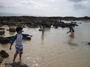 岩がゴロゴロしている砂浜@ハワイ家族旅行