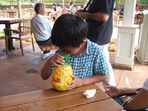 パイナップル型容器は貯金箱@ハワイ家族旅行