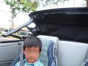 屋根のない車を喜ぶ長男6歳@ハワイ家族旅行