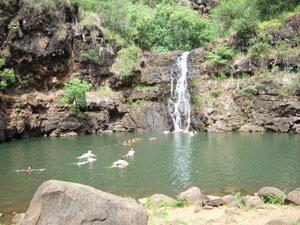 ワイメア滝の滝壺で水遊びする人達@ハワイ家族旅行