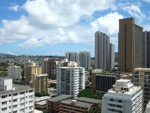 バルコニーからのシティービュー@ハワイ家族旅行