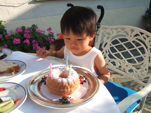 ドイツ旅行中にホテルでプレゼントしてもらったバースデーケーキ
