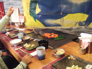 温野菜を目の前で焼いてもらう@鉄板焼 しま田