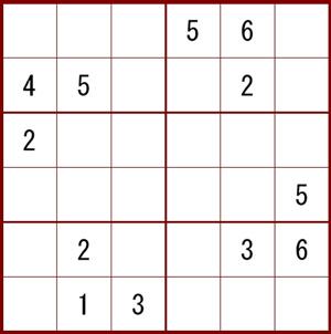 小型の6×6の数独