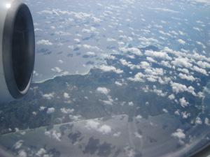 機内から見た種子島@沖縄研究室旅行