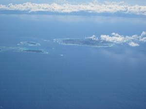 機内から見た綺麗な島々@沖縄研究室旅行