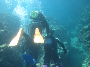 強制連行状態のダイビング@沖縄研究室旅行