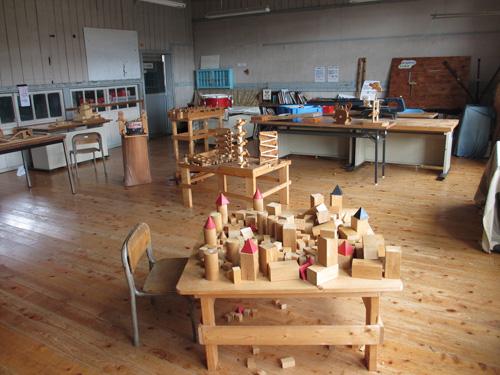木製玩具のある教室@阿蘇