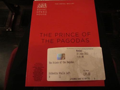 The Prince Of The Pagodasのチケットとプログラム@ロイヤルオペラハウス