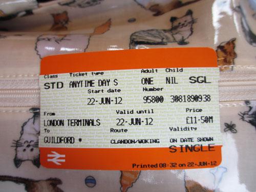 Waterloo駅からGuildford駅への片道切符