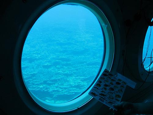 潜水艦内の円い窓から見える青い世界