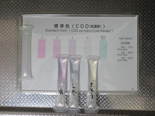 パックテスト(共立理化学研究所)による水質検査(COD)