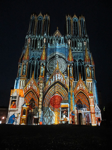 ノートルダム大聖堂ライティングディスプレイ@ランス,フランス