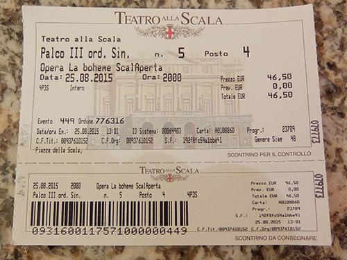 """""""3階ボックス席(Palco)のチケットが半額で46.5ユーロ@ミラノのスカラ座"""""""