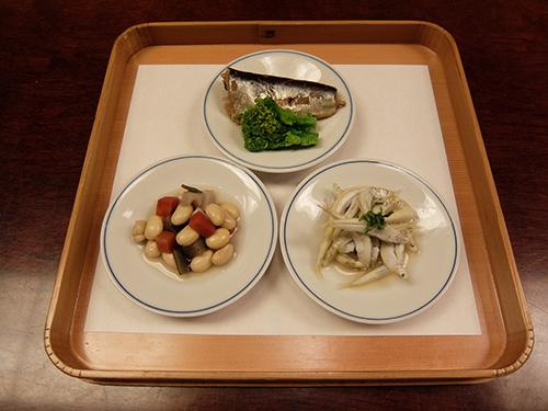 """""""鮎の稚魚,鰯(2月なので),煮豆など@らく山"""""""