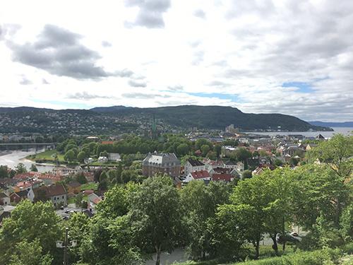 丘の上にあるクリスチャン要塞からトロンハイム市街を一望