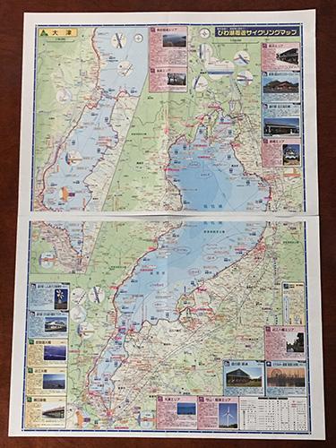 初ビワイチのために情報を書き込んだ「びわ湖周遊サイクリングマップ」