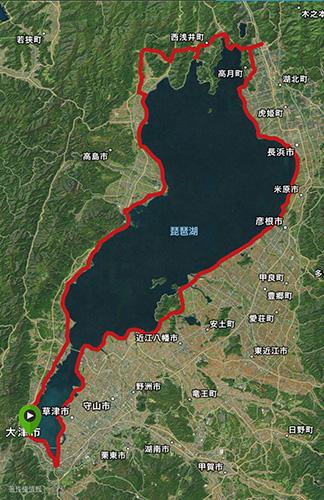 琵琶湖一周サイクリング(ビワイチ)の実際の走行コース 203km