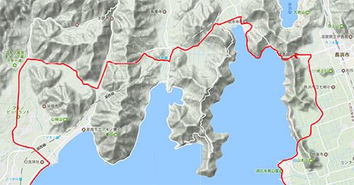 海津大崎通行止めを考慮して,事前に計画していた湖北のコース
